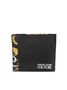 Versace Jeans Couture - Baroque logo print bifold wallet in black