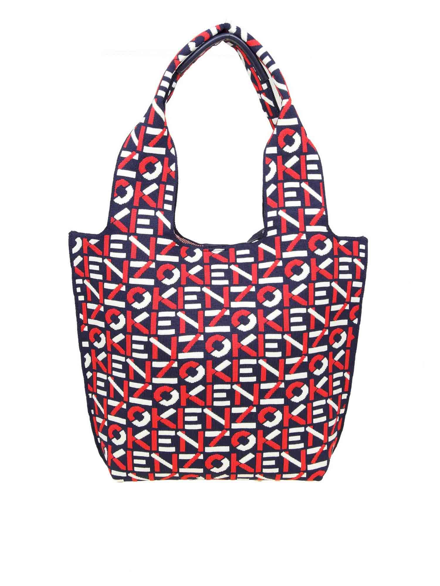 Kenzo MONOGRAM SMALL TOTE BAG IN BLUE AND RED