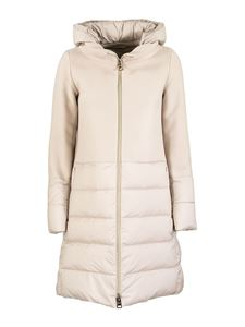 Herno - Revival wool and nylon padded coat in cream colour
