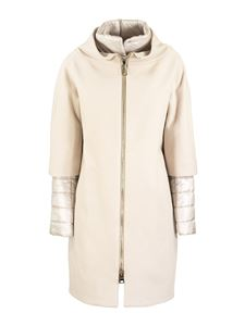 Herno - Double fabric padded coat in cream colour