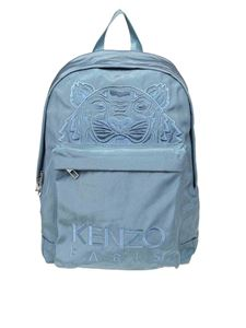 Kenzo - Tiger embroidered backpack in light blue