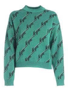 MSGM - All-over logo crop pullover in green