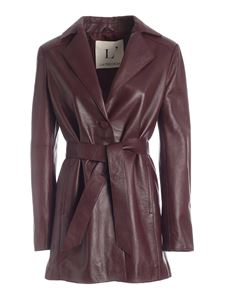 L'Autre Chose - Leather jacket in burgundy color