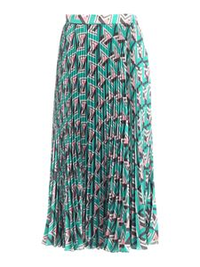 MSGM - Printed pleated skirt in green