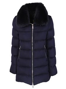 Moorer - Down jacket with fox collar in blue