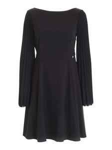 be Blumarine - Pleated sleeves and bow dress in black