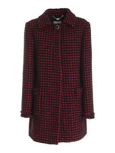 be Blumarine - Houndstooth coat in black and red