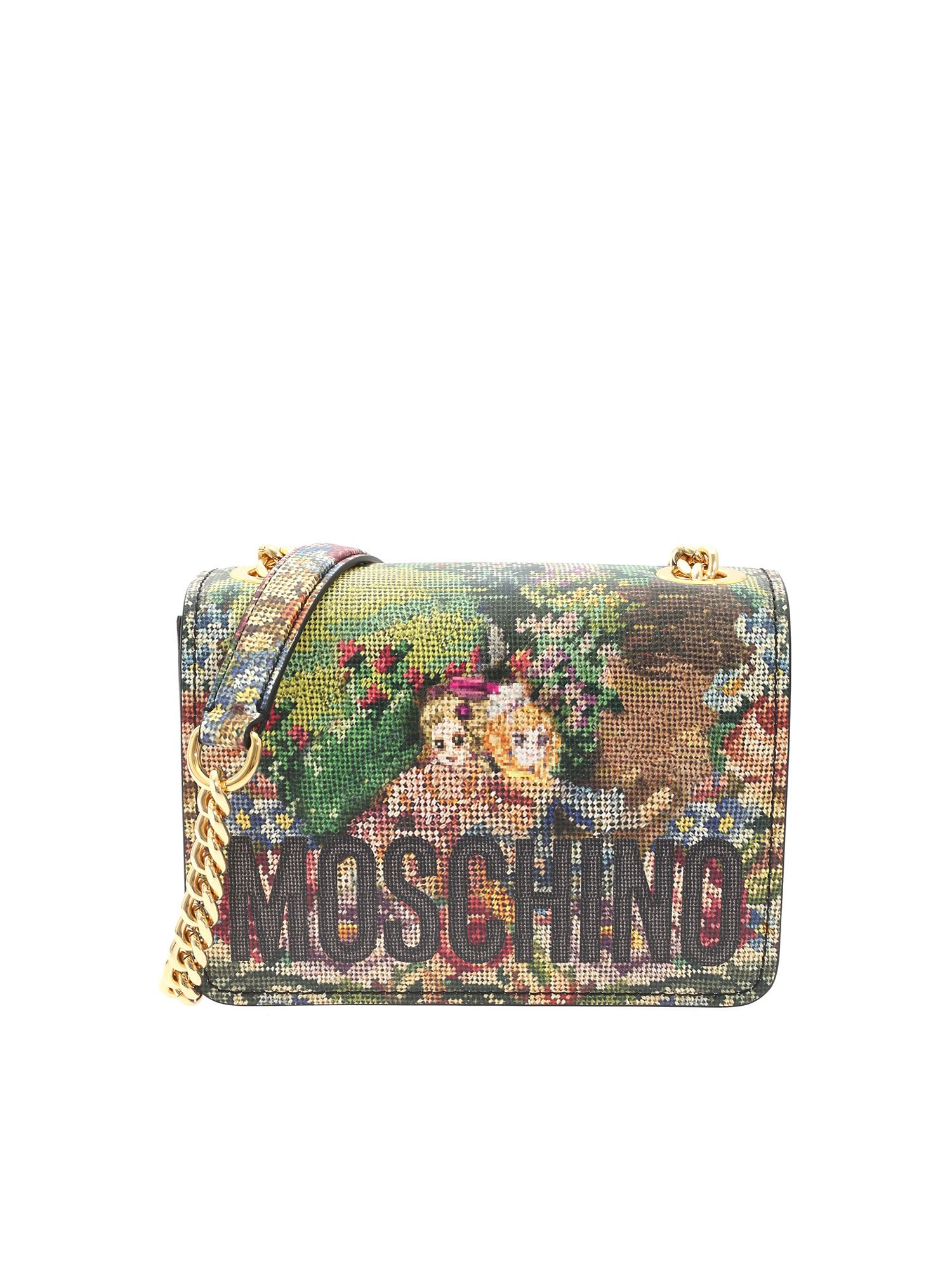 Moschino Leathers CROSS STITCH ANIME MULTICOLOR BAG