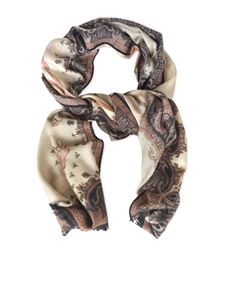 Etro - Paisley pattern scarf in cream color