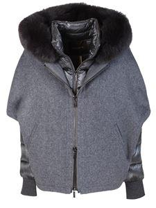 Moorer - Pegaso-CWR grey down jacket featuring hood