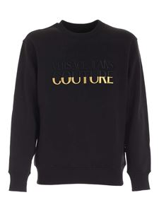 Versace Jeans Couture - Black and gold logo embroidery sweatshirt in black