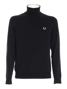 Fred Perry - White logo embroidery turtleneck in black