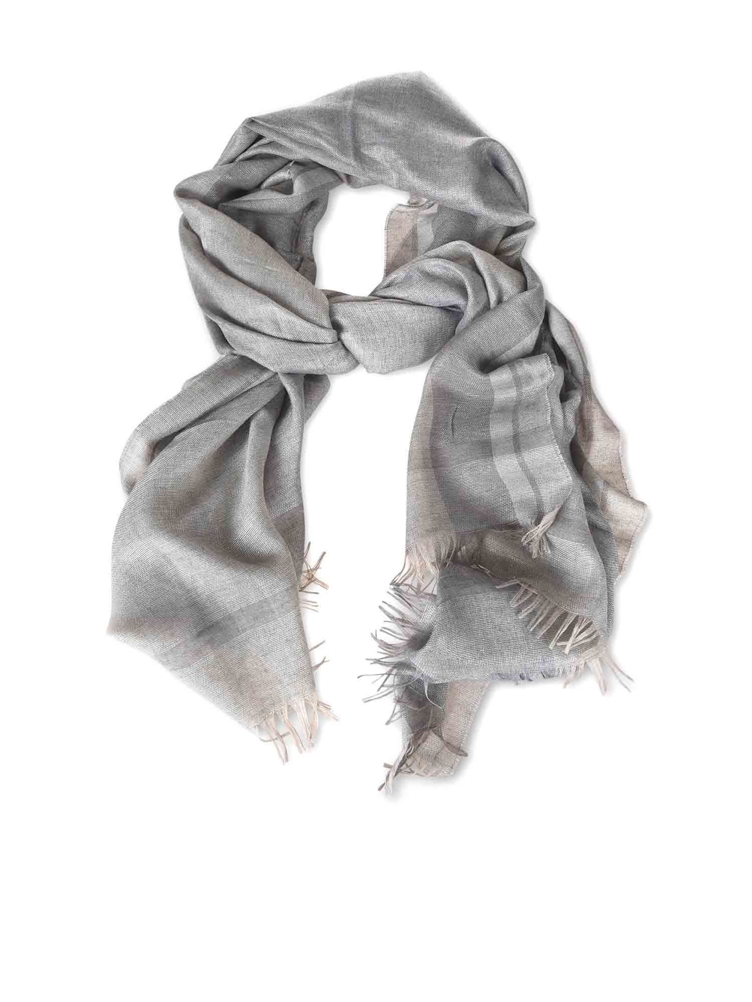 Fabiana Filippi CHECKED SCARF IN SHADES OF GREY