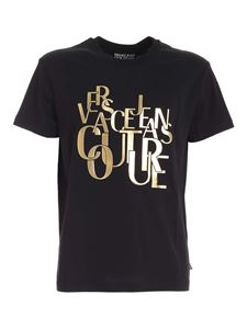 Versace Jeans Couture - T-shirt nera con stampa logo lettering
