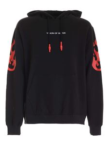 Vision Of Super - Red flames prints sweatshirt in black