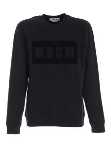MSGM - Black velvet logo sweatshirt in black