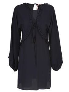 N° 21 - Silk dress with rouche in black