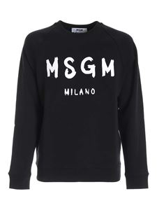 MSGM - Brushed logo print sweatshirt in black