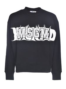 MSGM - Sponge effect patch logo sweatshirt in black