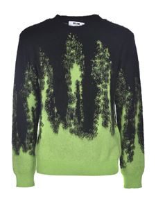 MSGM - Crewneck pullover in black and green