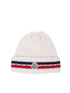 Moncler - berretto in lana a coste bianco