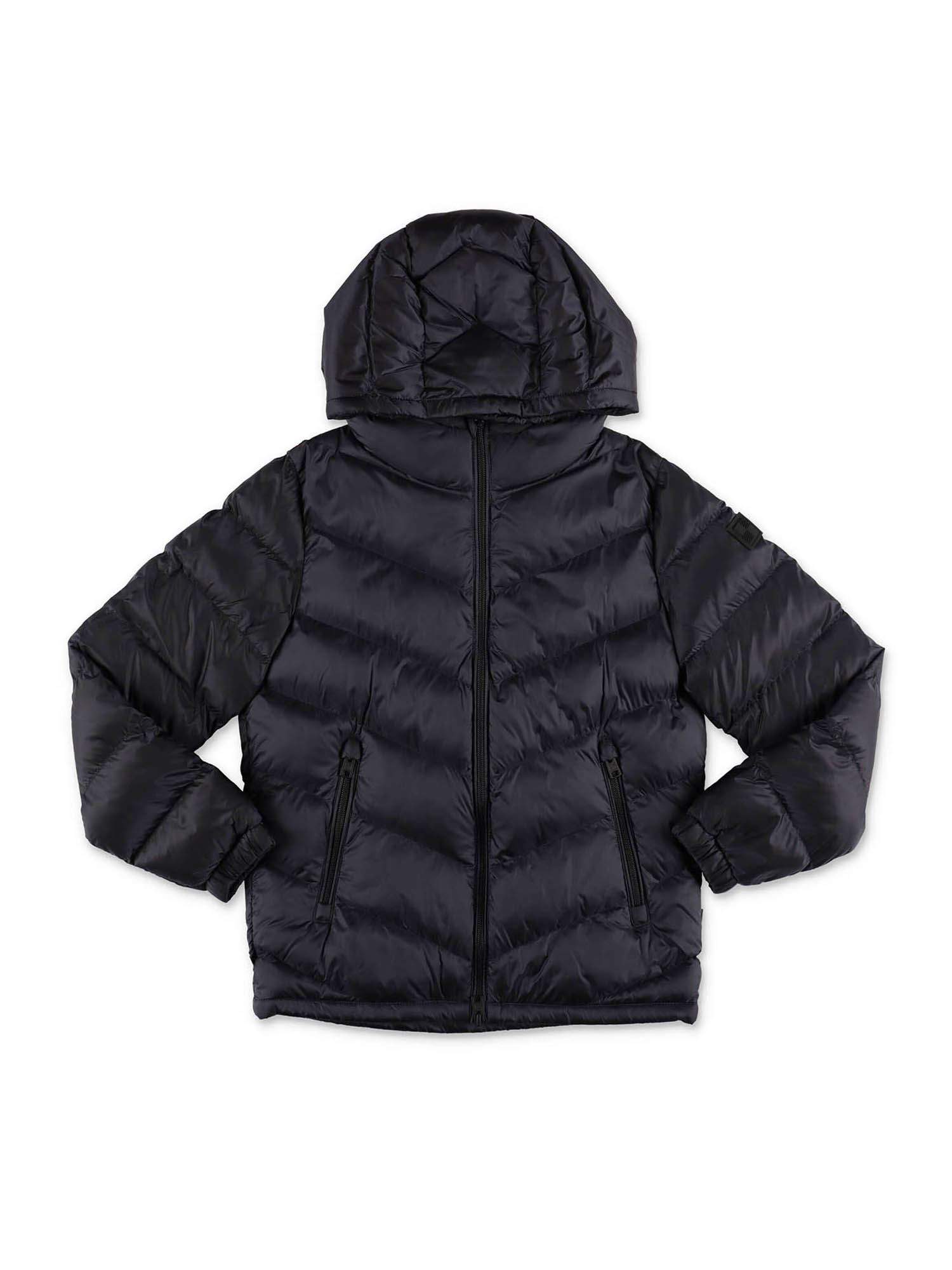 Woolrich BLUE DOWN JACKET WITH HOOD