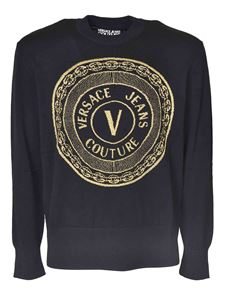 Versace Jeans Couture - Branded crewneck pullover in black