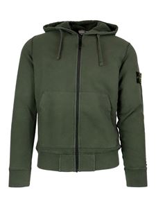 Stone Island - Logo patch cotton hoodie in green