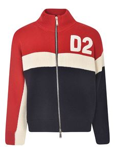 Dsquared2 - Colorblock D2 sweater in blue red and white