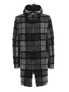 Avant Toi - Bouclé check and knit back hooded parka in grey