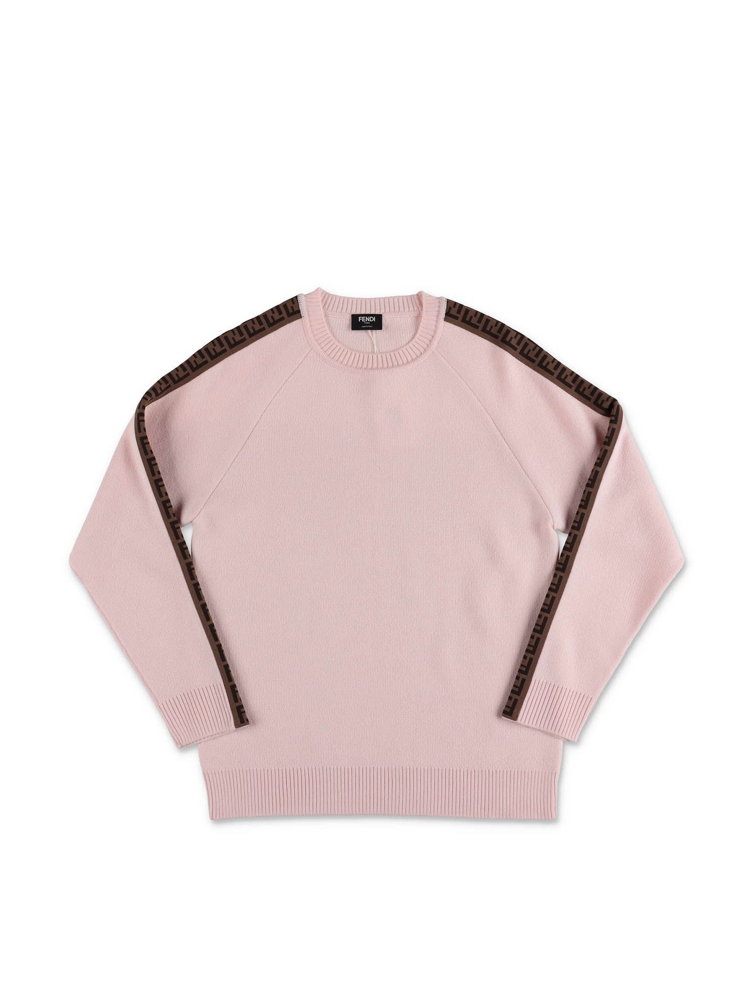 Fendi Jr PINK PULLOVER WITH FF BANDS