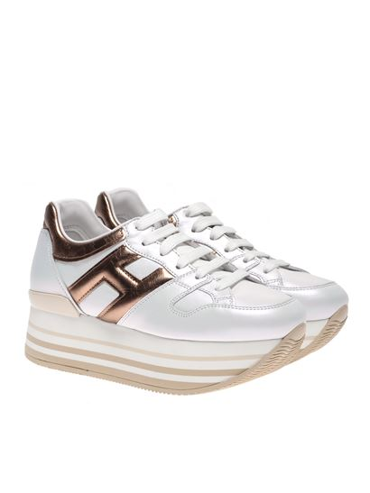 Hogan Fall Winter 20/21 maxi h222 sneakers in white and gold ...
