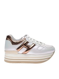 Hogan - Maxi H222 sneakers in white and gold