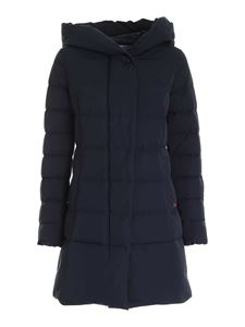 Woolrich - Quilted hooded down jacket in blue