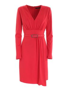 Clips - V-neck dress in red