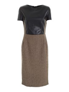 Clips - Faux leather details dress in brown