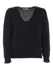 Kangra Cashmere - Sequins ribbed pullover in black