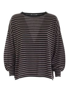 Kangra Cashmere - Striped sweater in black and brown