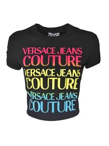Versace Jeans Couture - Printed crop T-shirt in black