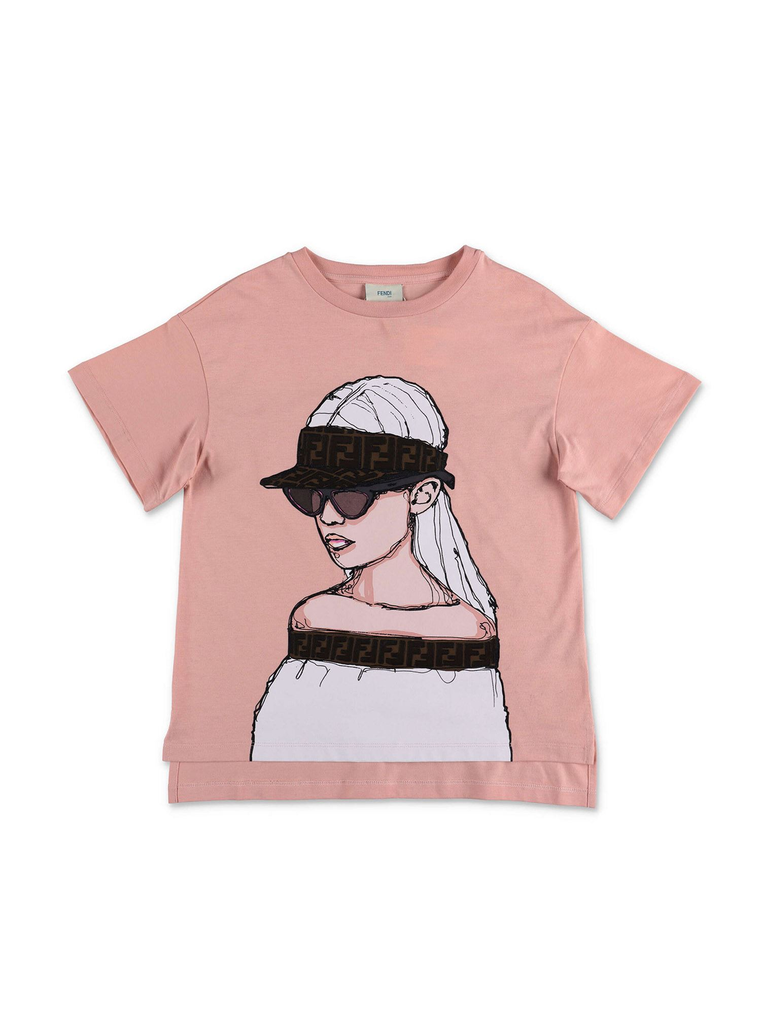Fendi Jr Cottons ROCOCO T-SHIRT IN PINK