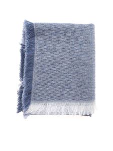 D'Aniello - Multi pattern effect scarf in melange blue