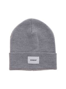 Dondup - Logo label beanie in light grey