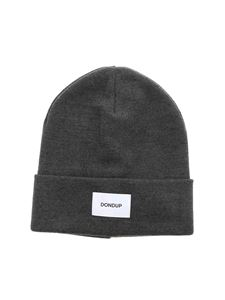 Dondup - Logo label beanie in dark grey