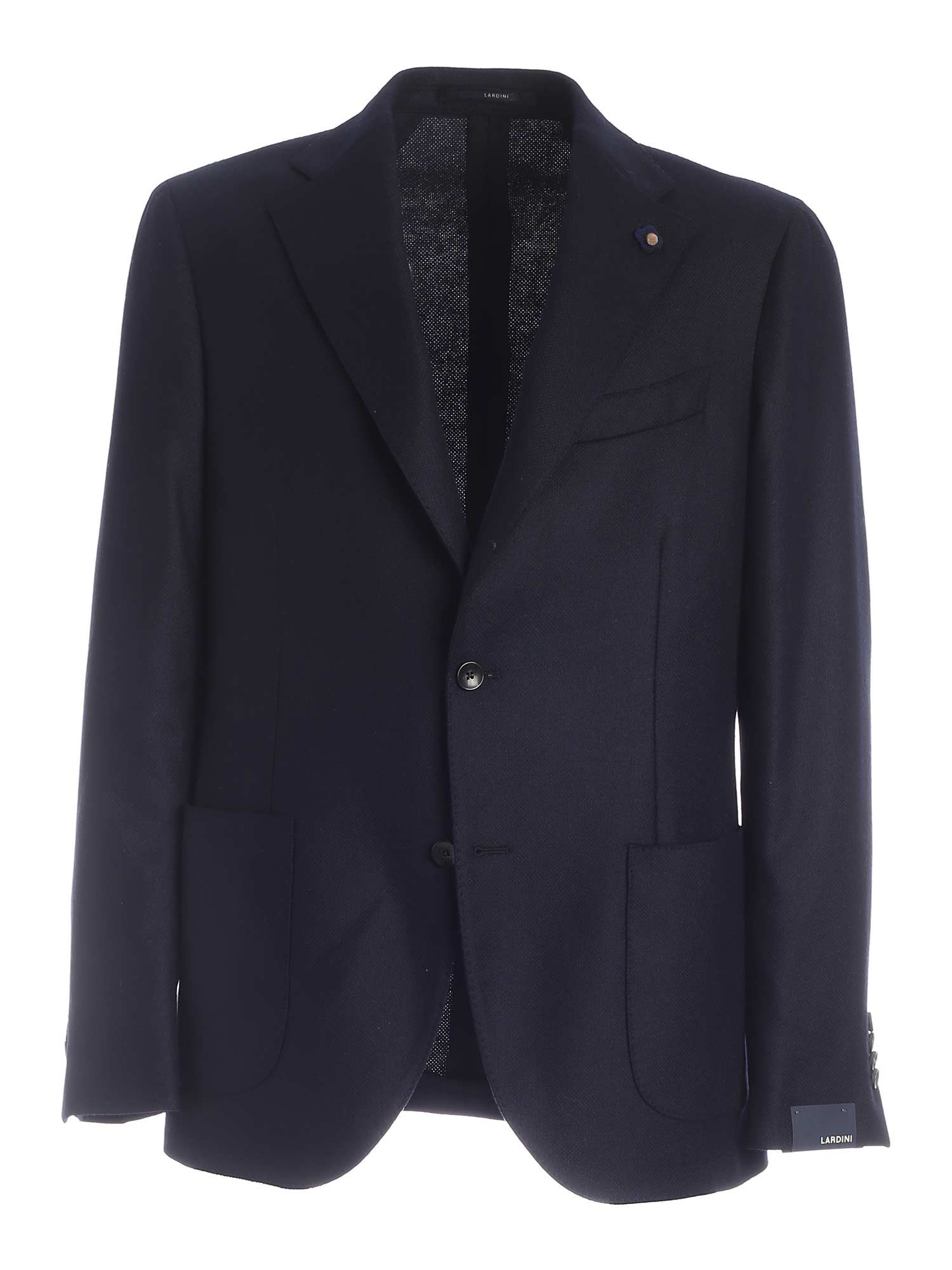 Lardini LOGO BROOCH SINGLE-BREASTED JACKET IN BLUE