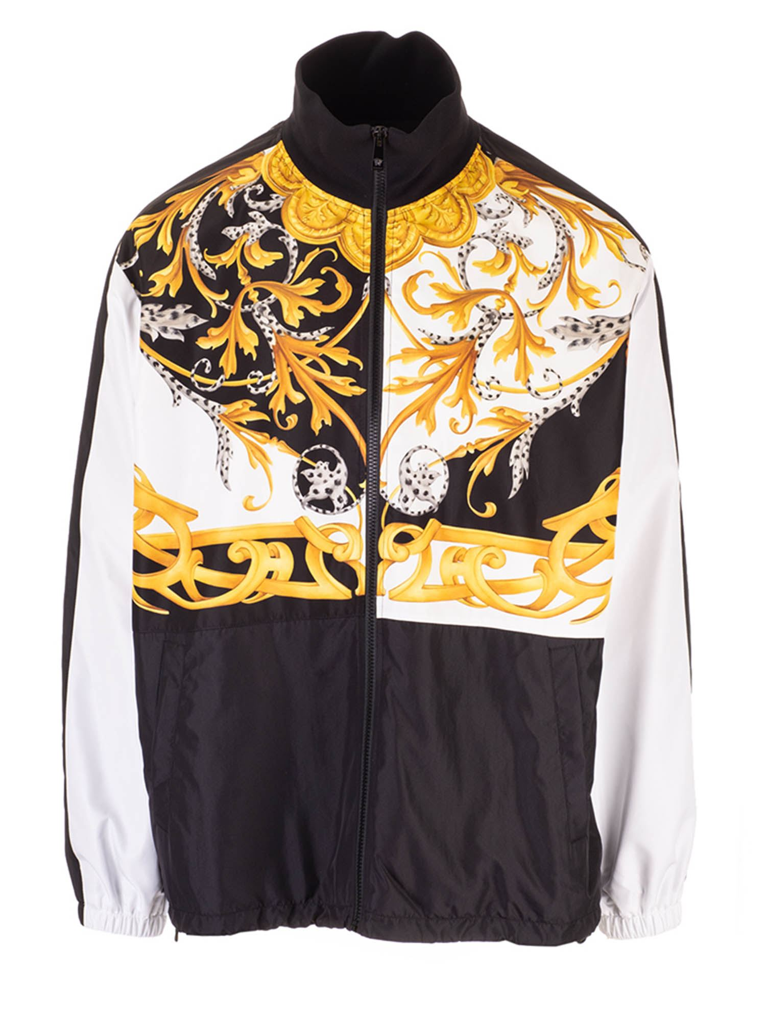 Versace BAROCCO ACANTHUS PRINT SWEATSHIRT IN BLACK AND WHITE