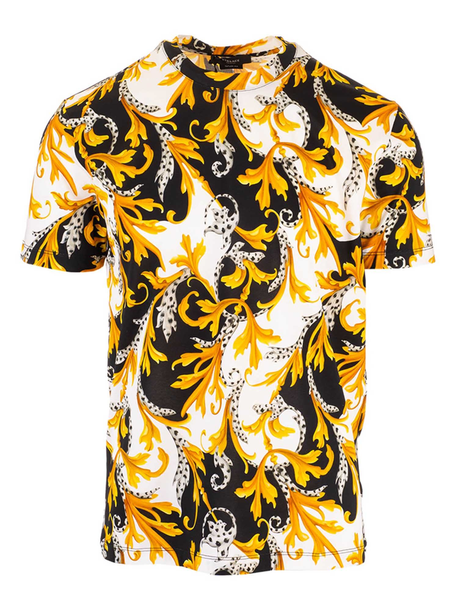 Versace YELLOW ACANTHUS PRINT T-SHIRT IN BLACK AND WHITE
