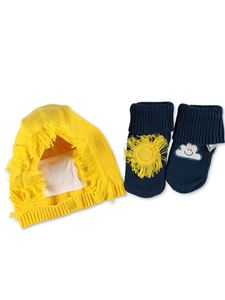 Stella McCartney Kids - Cappello e babbucce giallo e blu