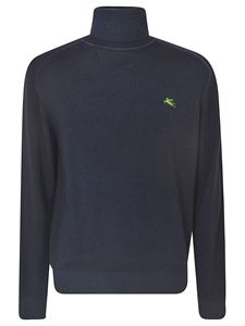 Etro - Turtleneck pullover with logo in blue