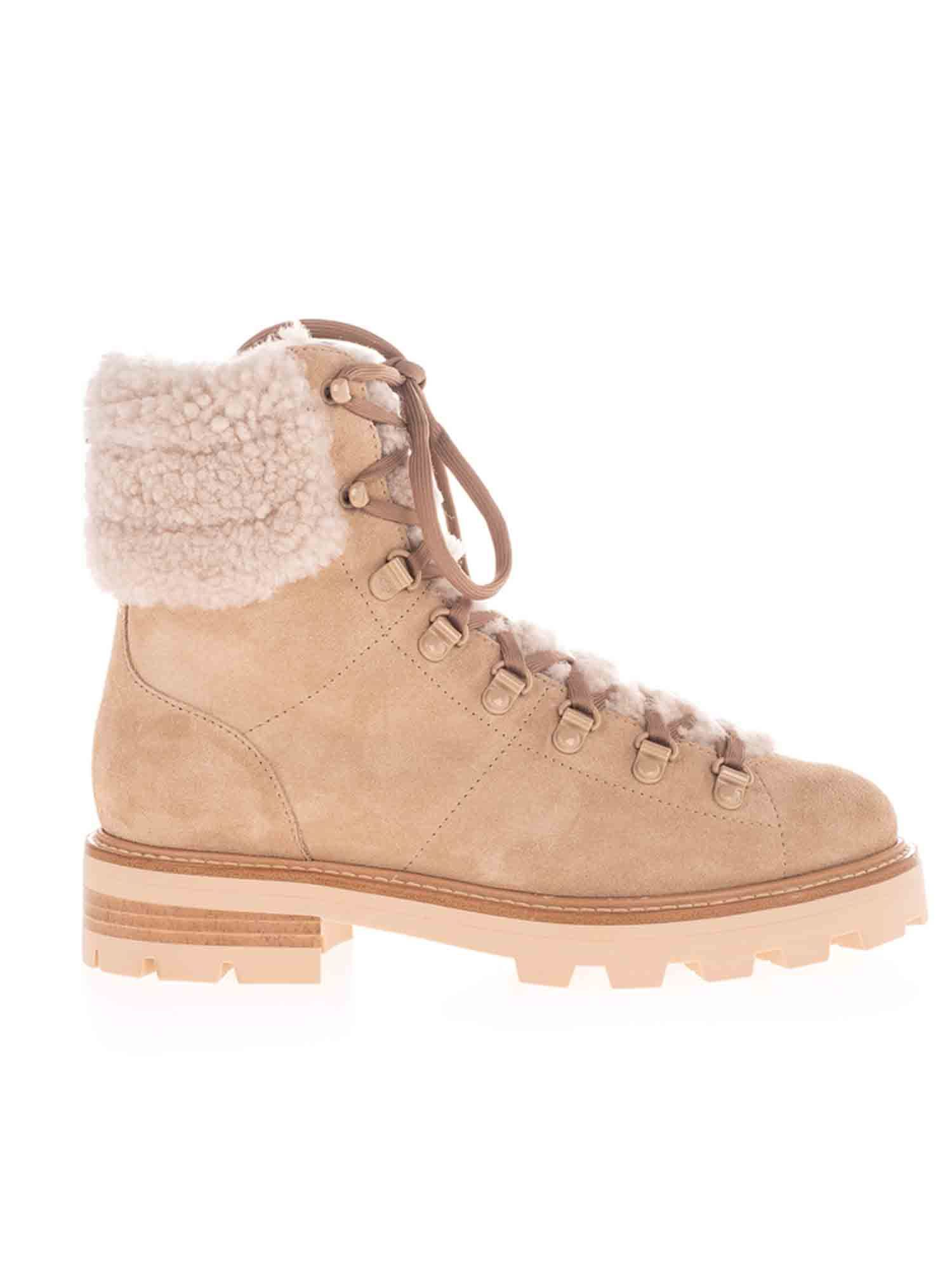 Jimmy Choo ESHE SHEARLING BOOTS IN BEIGE