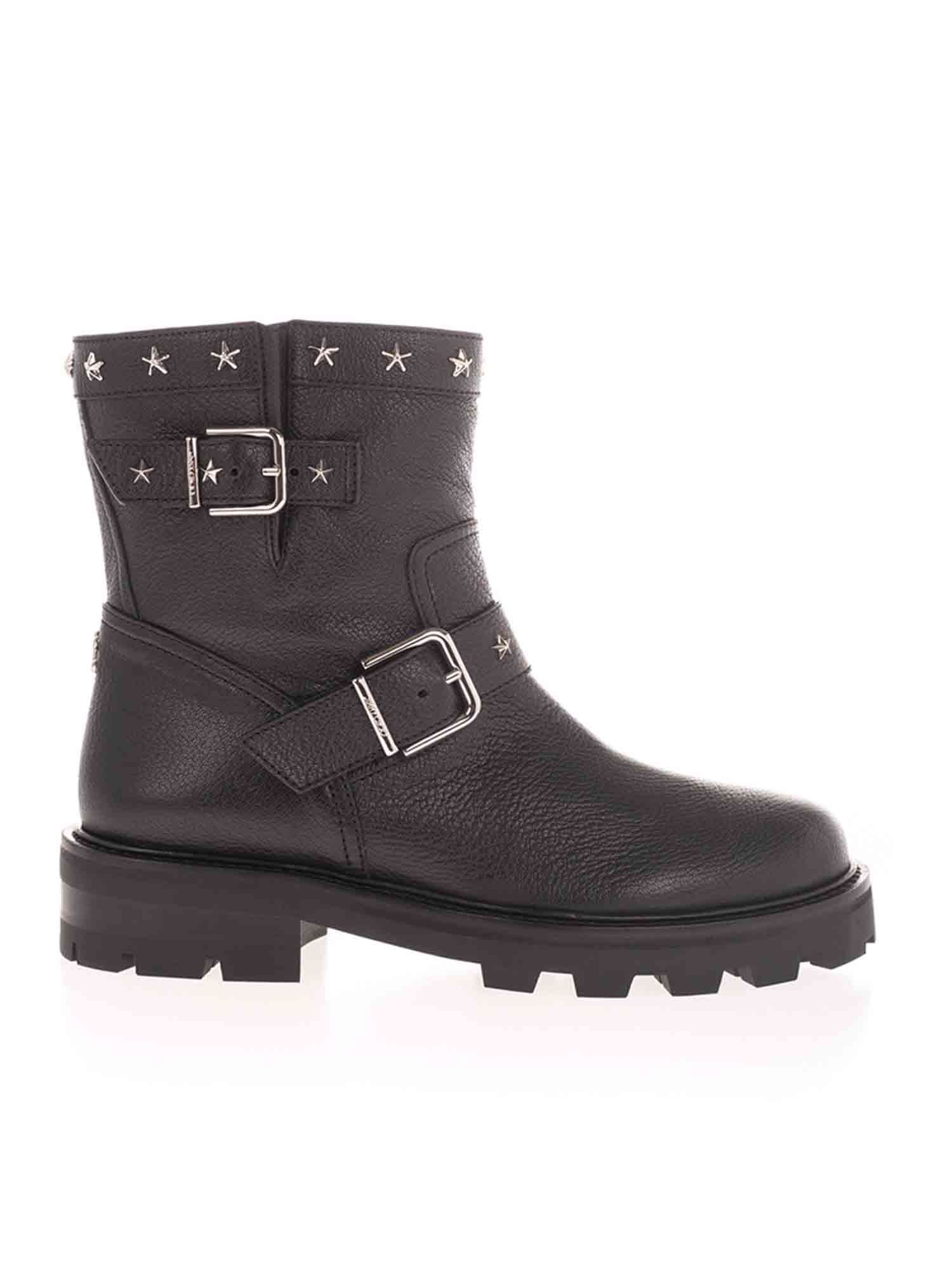 Jimmy Choo Leathers YOUTH STAR ANKLE BOOTS IN BLACK